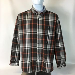 Tasso Elba Perfect Fall Shirt brown plaid XXL 18